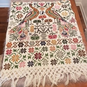 Cross stitch peacock tapestry